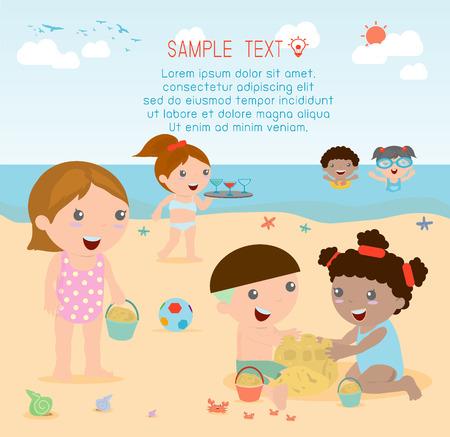 pequeño: niños en la playa, los niños jugar al aire libre, ilustración vectorial.