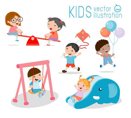 escuela caricatura: niños en parque infantil, niños time.isolated sobre fondo blanco, ilustración vectorial.