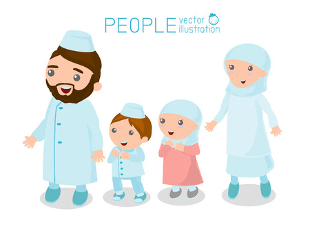 happy asian family: Happy Muslim family cartoon on white background Illustration