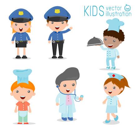 doctor vector: Childrens dream jobs, professions in dream for kids, Happy children in work wear.Vector Illustration. Illustration