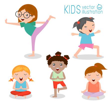 niños sentados: niños que practican yoga, felices los niños de dibujos animados que practican yoga, juego de Yoga. Los ejercicios de yoga. Estilo de vida saludable en el fondo blanco, ilustración vectorial Vectores