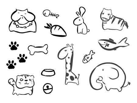 spoor: Funny Animal Vector illustration Icon Set Illustration