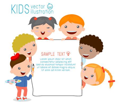 Vector children: trẻ em ló đằng sau tấm bảng, trẻ em hạnh phúc, những đứa trẻ dễ thương trên nền trắng, Vector Illustration
