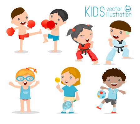 child smiling: kids and sport, Kids playing various sports on white background , Cartoon kids sports,boxing, football, tennis, Taekwondo, karate, Swimming,Vector illustration Illustration