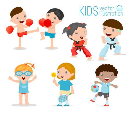 kinderen en sport, Kinderen spelen verschillende sporten op een witte achtergrond, Cartoon kinder sporten, boksen, voetbal, tennis, taekwondo, karate, zwemmen, Vector illustratie