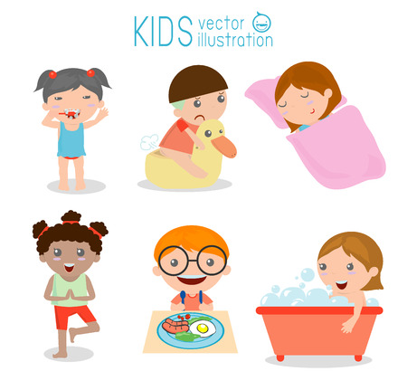limpieza: Salud e higiene, las rutinas diarias para los niños, ilustración vectorial. Vectores