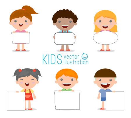 kinderen gluren achter aanplakbiljet, gelukkige kinderen, Schattige kleine kinderen op een witte achtergrond, Vector Illustratie