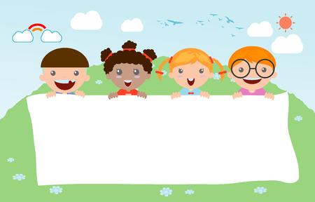 Bambini che pigola dietro il cartello, bambini felici, i bambini piccoli carino su sfondo bianco, illustrazione vettoriale Archivio Fotografico - 43431132