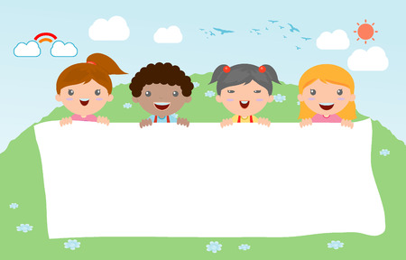 peeping: kids peeping behind placard, happy children, Cute little kids on white background,Vector Illustration