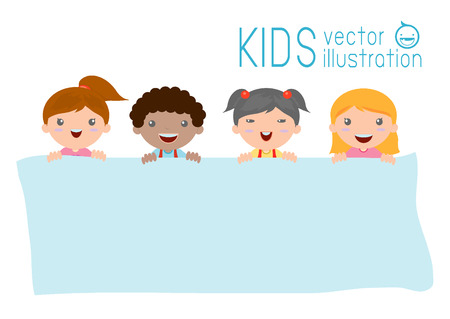 peeping: kids peeping behind placard, happy children, Cute little kids on white background,Vector Illustration