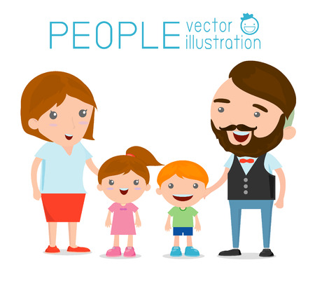 happy smile: Happy family , Happy family gesturing with cheerful smile, Parents with kids. Vector colorful illustration in flat design isolated on white background, Vector Illustration