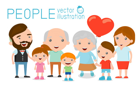 cartoon little girl: Family group portrait parents grandparents and children, Happy cartoon family, Illustration