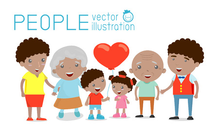 young family: Family group portrait parents grandparents and children, Happy cartoon family,,african-american family, wedding, pregnant, old Illustration