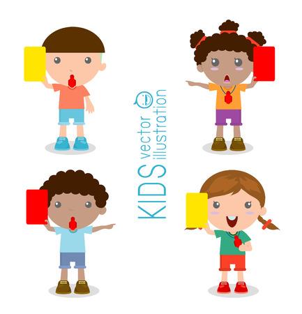 arbitros: Ilustración de niños árbitros de fútbol que sostiene la tarjeta roja y amarilla, ilustración vectorial, en el fondo blanco Vectores