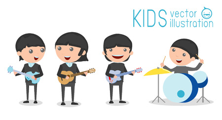 cartoon singing: vector illustration of four kids in a music band, Children playing Musical Instruments,illustration of Kids playing different musical instruments,Vector Illustration