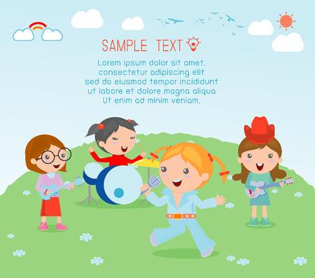 kid vector: Los niños y la música, ilustración vectorial de cuatro chica en una banda de música, los niños que juegan Instrumentos Musicales, Ilustración de niños jugando diferentes instrumentos musicales, ilustración vectorial Vectores