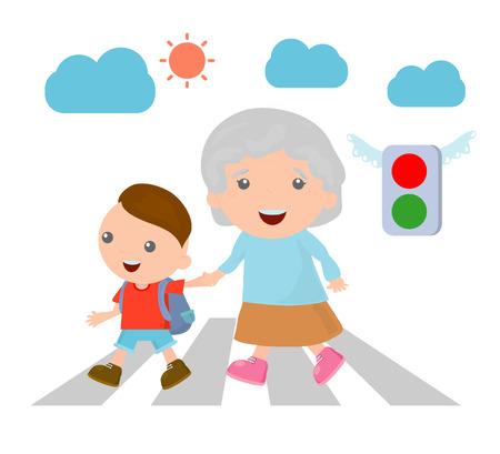vector illustratie van de jongen het helpen van senior dame het oversteken van de straat, Boy helpt oude dame de straat oversteken. Vector Illustratie
