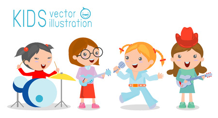 rehearsal: Kids and music, vector illustration of four girl in a music band, Children playing Musical Instruments,illustration of Kids playing different musical instruments,Vector Illustration
