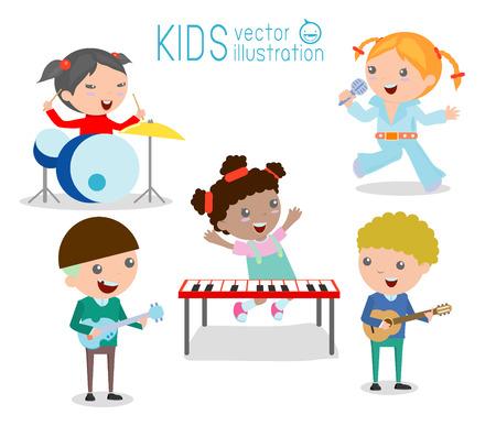 niño cantando: Los niños y la música, los niños que juegan Instrumentos Musicales, Ilustración de niños jugando diferentes instrumentos musicales, ilustración vectorial