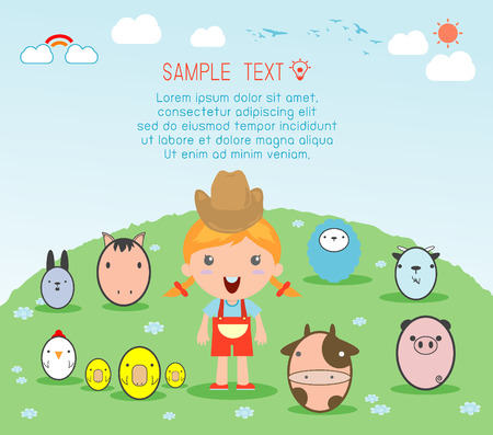 cock duck: Girl With Farm Animal, village girl with Farm Animals , Illustration of kids and Farm Animals , farm animals and background, Vector Illustration