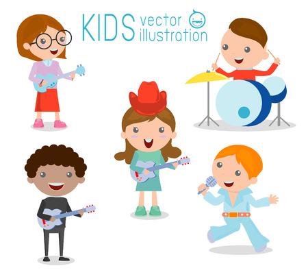 instrumentos musicales: Los niños y la música, los niños que juegan Instrumentos Musicales, Ilustración de niños jugando diferentes instrumentos musicales, ilustración vectorial