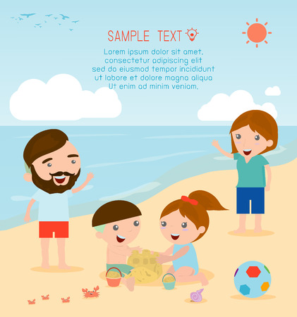 children background: family at the beach. Family on the beach. Happy family. Illustration