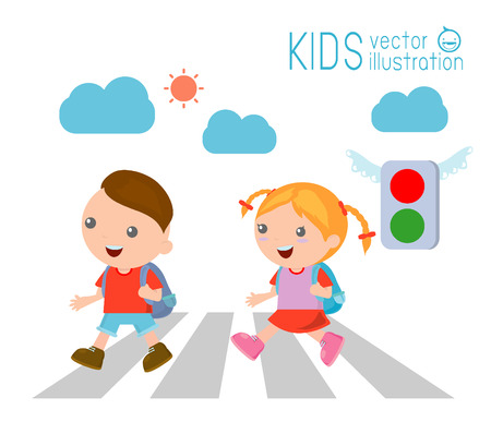 holding sign: kids across the road , Children go to school,Vector Illustration