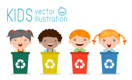 recyclable: Illustration of Kids Segregating Trash, recycling trash, Save the World , Vector Illustration. Illustration