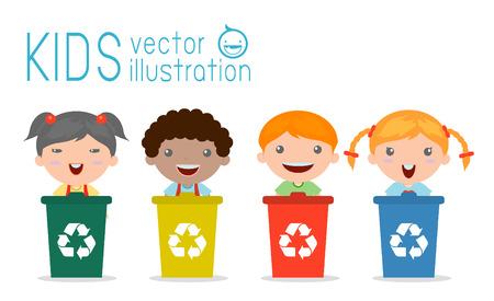 botar basura: Ilustración de niños segregantes de basura, la basura de reciclaje, Ahorre la ilustración del mundo, Vector. Vectores