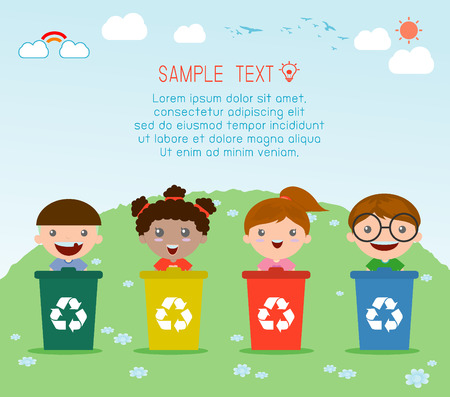 Illustration of Kids Segregating Trash, recycling trash, Save the World , Vector Illustration. Ilustração