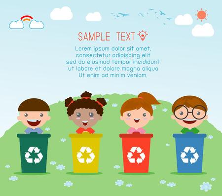 niños reciclando: Ilustración de niños segregantes de basura, la basura de reciclaje, Ahorre la ilustración del mundo, Vector. Vectores