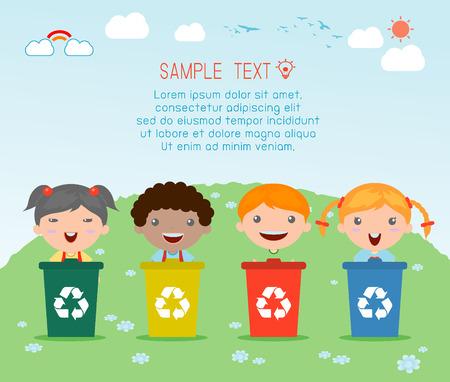 쓰레기, 재활용 쓰레기를 분리하는 아이의 그림, 세계, 벡터 일러스트 레이 션을 저장합니다. 일러스트