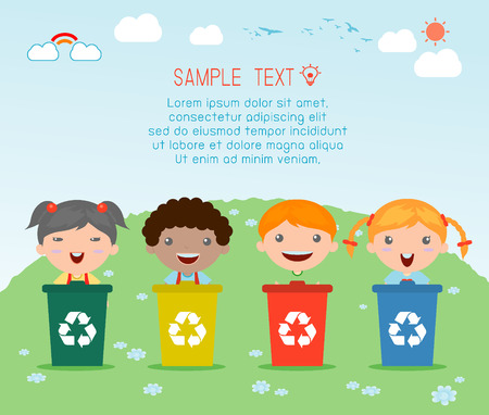 Ilustración de niños segregantes de basura, la basura de reciclaje, Ahorre la ilustración del mundo, Vector. Foto de archivo - 43890917