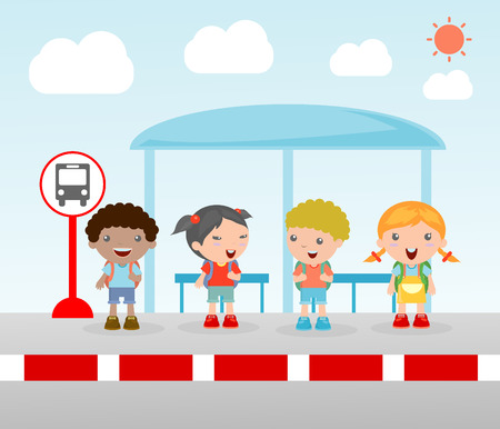 child of school age: Illustration of the students at the bus stop