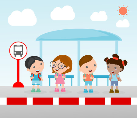Illustration of the students at the bus stop, A vector illustration of little children waiting at a bus stop, Waiting at Bus Stop, Vector Illustration.