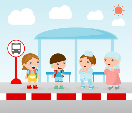 child of school age: Illustration of the students at the bus stop.
