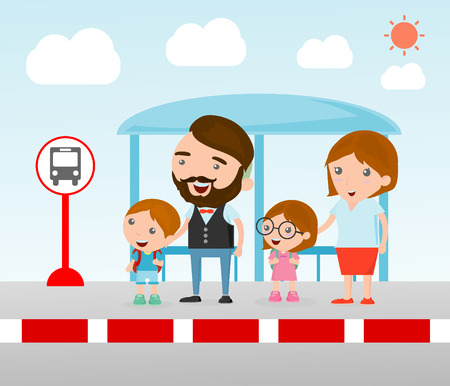 Illustration of the Family at the bus stop, A vector illustration of Family waiting at a bus stop, Waiting at Bus Stop.