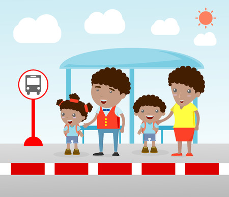 everyday scenes: Illustration of the Family at the bus stop