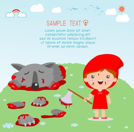 caperucita roja: Caperucita Roja Veces El Lobo Vectores