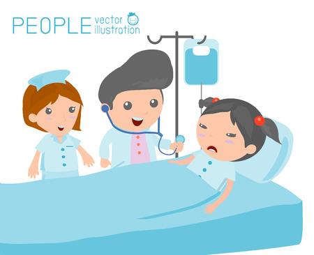 enfermero caricatura: Doctor enfermera cuidando de paciente en la sala de hospital Doctor cuidado de un paciente que est� en reposo en cama de hospital Vectores