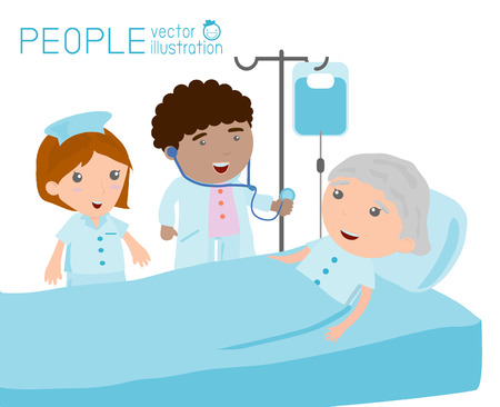 Doctor nurse taking care of patient in the ward of hospital Doctor caring for a patient who is resting in hospital bed Illustration
