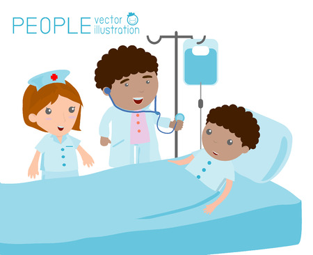 doctor who: Doctor nurse taking care of patient in the ward of hospital Doctor caring for a patient who is resting in hospital bed Illustration