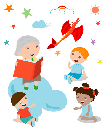 storyteller: Illustration of Kids Listening to Their Grandmother Tell a Story, open book with dragon