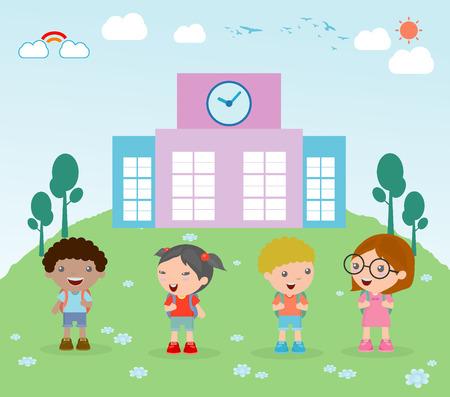 child school: Kids go to school, back to school