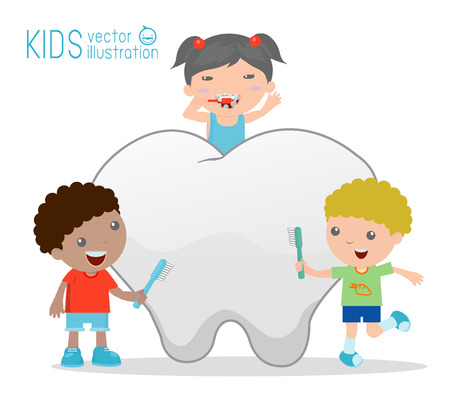 Illustration of a kids Using a Toothbrush to Clean a Giant Tooth Illustration