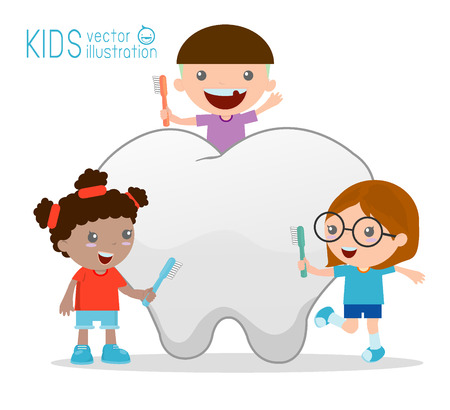a toilet stool: Illustration of a kids Using a Toothbrush to Clean a Giant Tooth Illustration