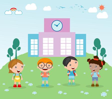 colegio: Los niños van a la escuela Vectores