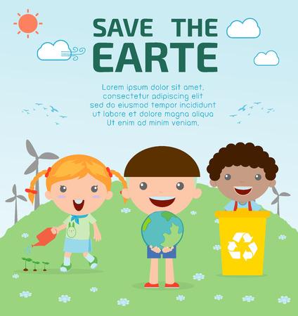 medio ambiente: Niños para ahorro de la Tierra