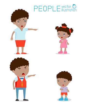 sad teenage girl: Scold children, father and mother scolding unhappy boy. Isolated Illustration