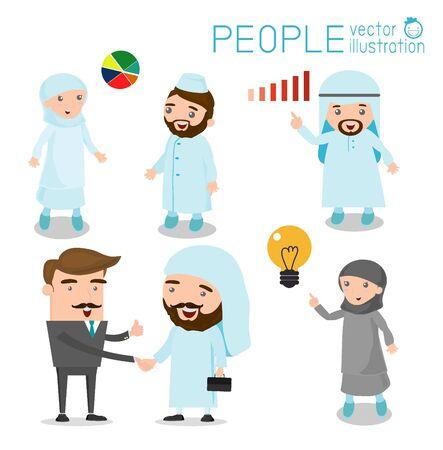arab adult: Arab businessmen and Arab business woman cartoon character set vector